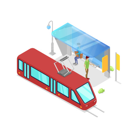 Trolley stop isometric 3D icon Illustration