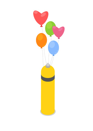 Helium gas cylinder with air balloons icon