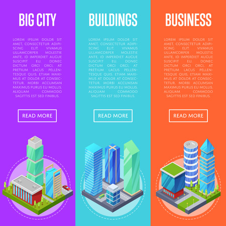 Modern city architecture banners set. Apartment, office, houses and streets with urban traffic movement of car with trees and nature isometric objects. Downtown business district vector illustration. Illustration
