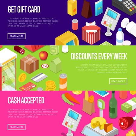 スーパーの買い物割引毎週等尺性ポスターです。食品、ドリンク、商品の小売ギフト カード提案。現金、クレジット カード ターミナルまたはオン  イラスト・ベクター素材