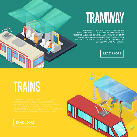 Tramway waiting station isometric 3D posters. Urban and countryside traffic concepts with transport stops vector illustration. City public transport, comfortable moving, trains passenger platform. 向量圖像