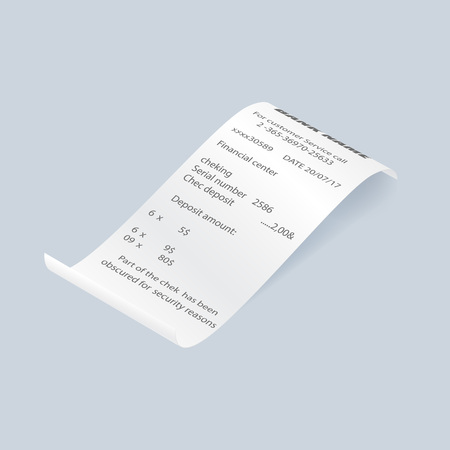 Paper retail bill vector element. Shop reciept, print check isolated object, realistic financial atm check, receipt records sale of goods or provision of service. Illustration