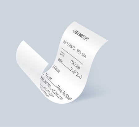 Paper shopping receipt vector element. Retail bill isolated object, realistic financial atm check, receipt records sale of goods or provision of service.