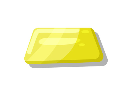 graphical user interface: Shiny yellow button for computer game menu interface. Bright user design element, app graphical navigation object isolated vector illustration.