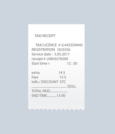 Paper atm check vector element. Shop reciept, retail bill isolated object, realistic financial invoice, receipt records sale of goods or provision of service.