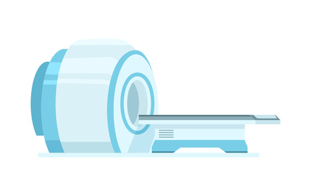 Computed tomography or computed axial tomography scan machine. Modern medical equipment isolated vector illustration.