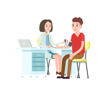 Doctor and patient measuring blood pressure. Medical treatment and healthcare, clinical analysis, medical examination vector illustration. Illustration