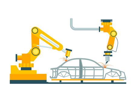 Modern robotic car manufacturing process. Modern engineering systems, automobile production line, automotive assembly line vector illustration.