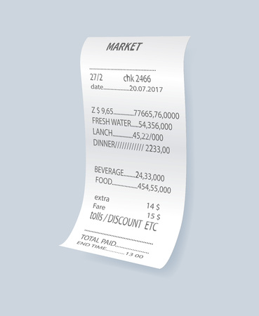 Realistic financial atm check vector element. Shop reciept, retail bill isolated object, paper print check, receipt records sale of goods or provision of service.