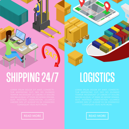 Round the clock shipping and logistics isometric posters. Freight shipment and distribution, fast delivery transportation, warehouse management. Commercial cargo transportation vector illustration.