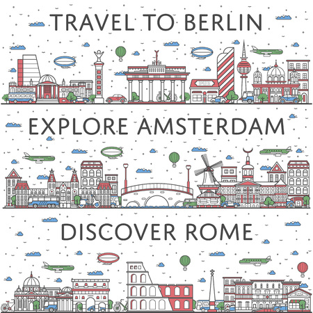European traveling posters in linear style