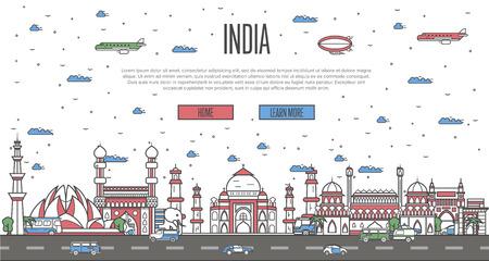 Indian skyline with national famous landmarks 일러스트