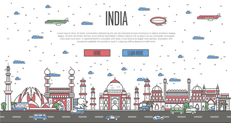 Indian skyline with national famous landmarks Иллюстрация