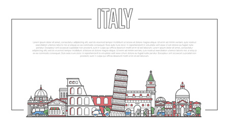 Italy landmark panorama in linear style
