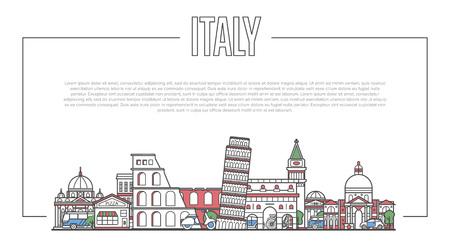 Italy landmark panorama in linear style