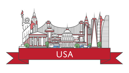 Travel USA poster in linear style Illustration
