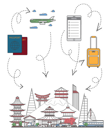 Welcome to Japan poster with famous asian architectural attractions, travel bag, passport, plane and smartphone in linear style. Online tickets ordering, worldwide tour advertising vector background Ilustracja
