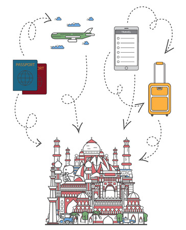 Welcome to India poster with famous indian architectural attractions, travel bag, passport, plane and smartphone in linear style. Online tickets ordering, asian tour advertising vector background