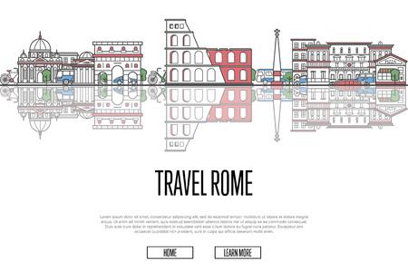 Travel Rome poster in linear style Ilustração