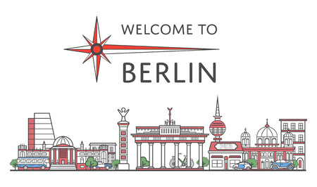 Welcome to Berlin poster in linear style Illustration