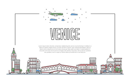 線形スタイルでヴェネツィアのポスターを旅行  イラスト・ベクター素材