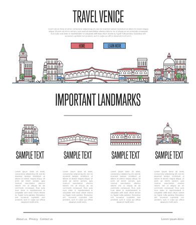 線形スタイルでヴェネツィア旅行インフォグラフィック  イラスト・ベクター素材