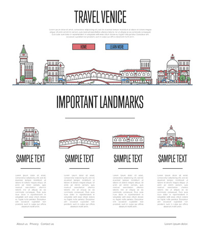Venice travel infographics in linear style