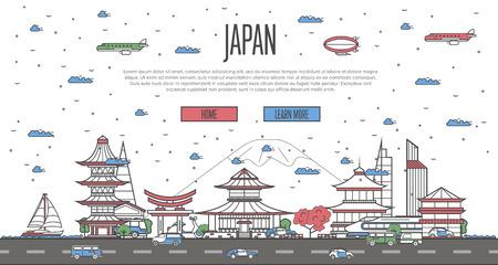 Japanese skyline with national famous landmarks