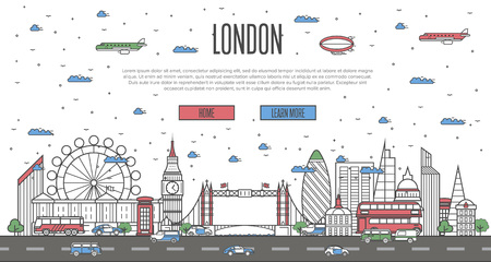 London skyline with national famous landmarks