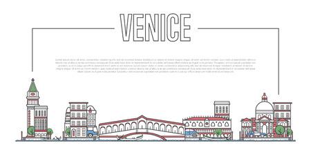 線形スタイルでヴェネツィアのランドマークパノラマ