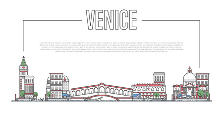 Venice landmark panorama in linear style Фото со стока - 90530029