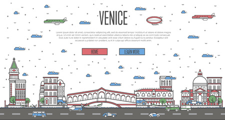Venice skyline with national famous landmarks Illustration