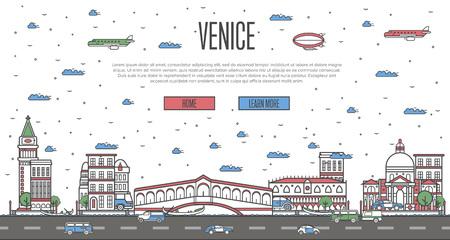 Venice skyline with national famous landmarks Ilustrace