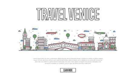 直線的なスタイルの旅行ベニス ポスター