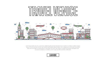 Travel Venice poster in linear style