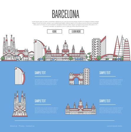 바르셀로나 도시 여행 가이드. 스톡 콘텐츠 - 91972351