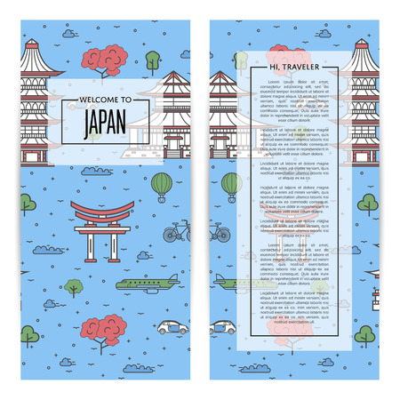 Japan traveling set in linear style. Illustration