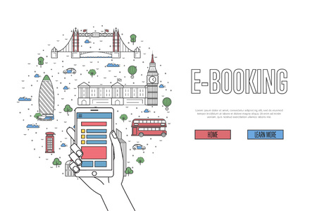 E-booking poster in linear style.