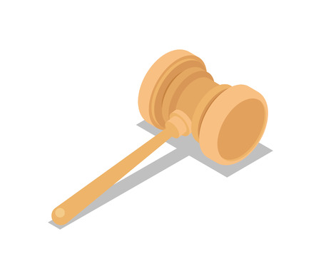 Auction gavel isometric 3D icon.
