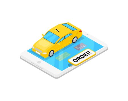 Online taxi ordering isometric 3D icon. Vectores