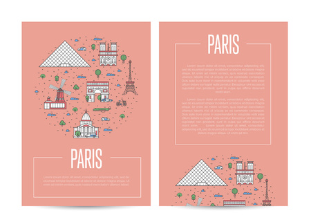 Paris city traveling advertising in linear style.