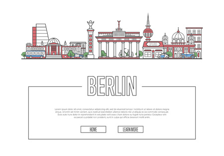 Travel Berlin poster in linear style.