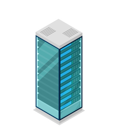 Network server rack isometric 3D icon.