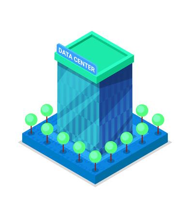 Icône 3d isométrique du bâtiment moderne de centre de données. Vecteurs