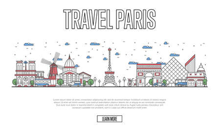 Travel Paris poster with architectural attractions in linear style. Worldwide traveling and time to travel concept. Paris skyline with famous landmarks, france tourism and journey vector background Illustration