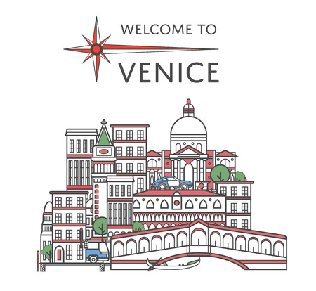 Welcome to Venice poster in linear style