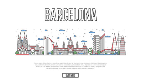 Travel Barcelona poster in linear style