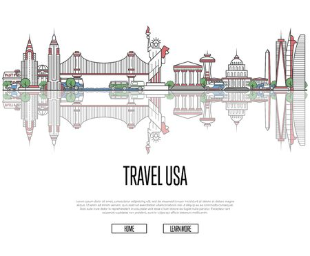 Travel tour to USA poster in linear style with buildings and landmark. Vectores