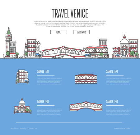 Venice city travel vacation guide, with architectural design.
