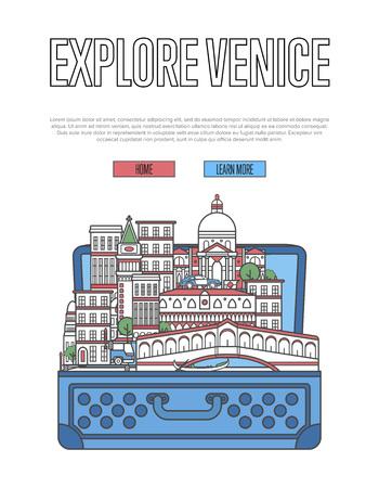 オープンスーツケースや都市の建物やランドマークでヴェネツィアのポスターを探検。